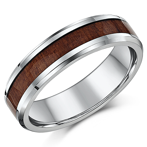 6mm Men's Wedding Ring Titanium and Genuine Wood Grained Inlay Wedding Band
