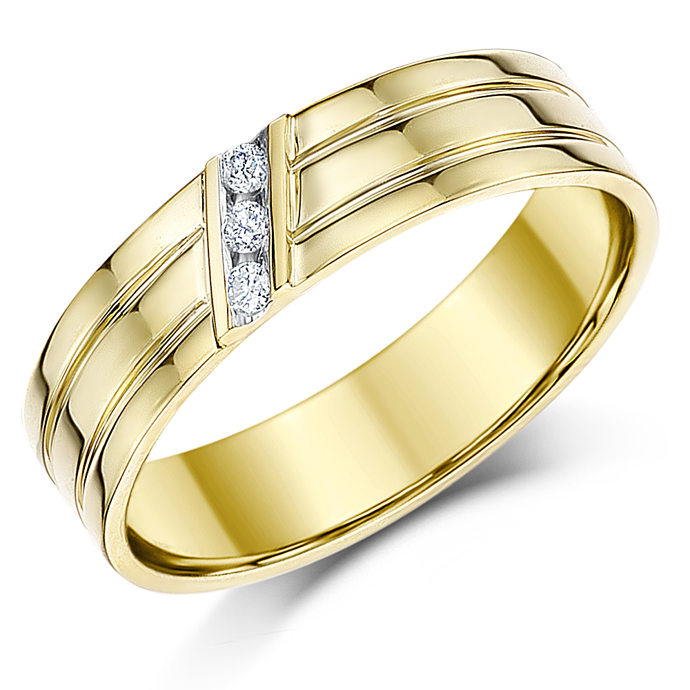 'Sale' 5mm 9 carat Yellow Gold Flat Court Diamond Wedding Ring