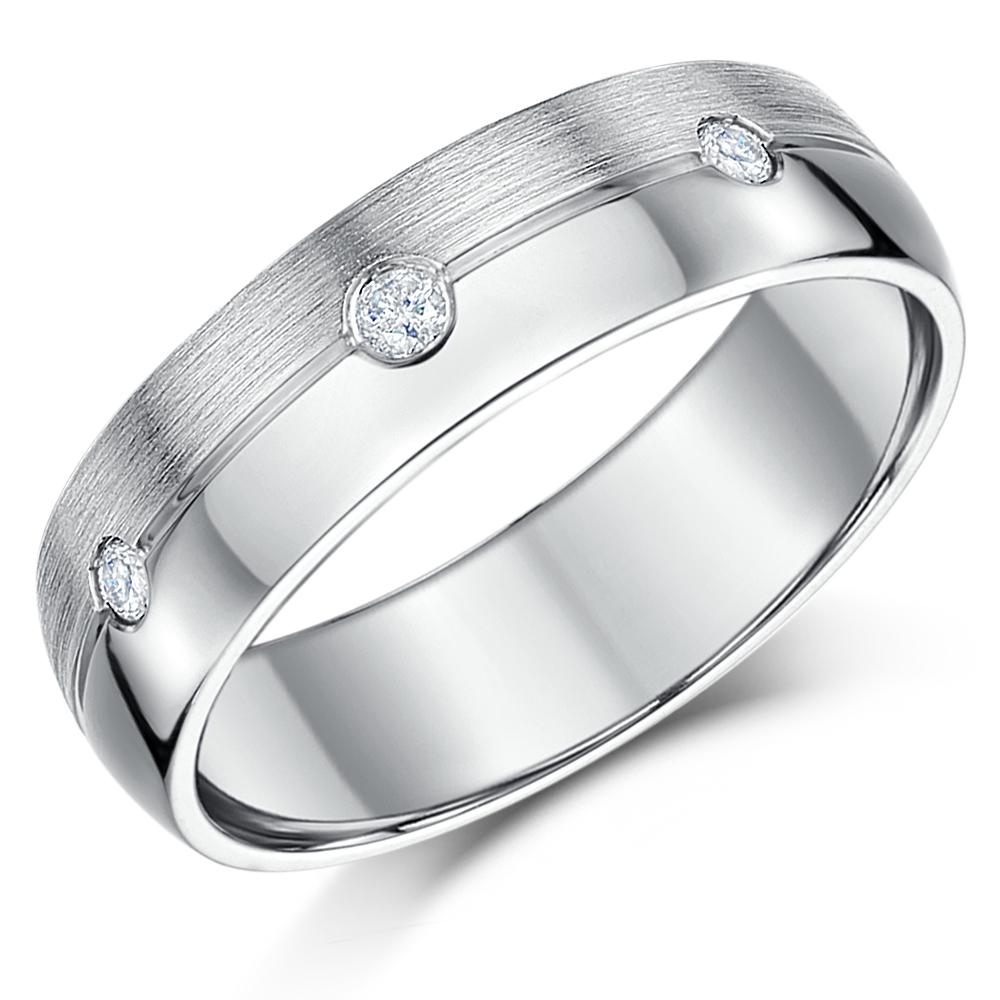 6mm Sterling Silver 925 Matt & Polished Diamond Wedding Ring