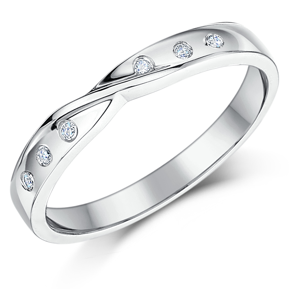 3mm 9ct White Gold Diamond Set Twist Wedding Ring Band