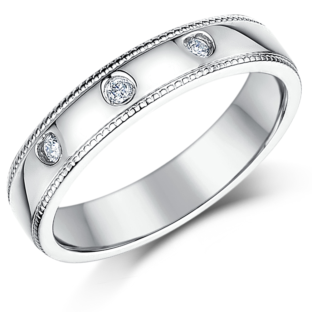 4mm Sterling Silver 3x Diamond Wedding Ring Band