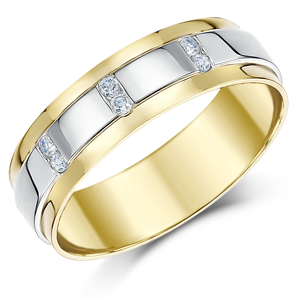 6mm 9ct Two Colour Solid Gold Diamond Ring