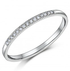 1.5mm Palladium Diamond Eternity Wedding Rings