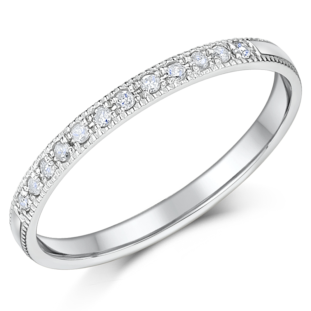 2mm Palladium Diamond Eternity Wedding Rings
