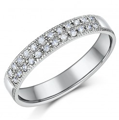 3.5mm Palladium Diamond Eternity Wedding Ring