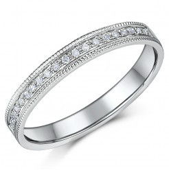 3mm 9ct White Gold 10 Point Milgrain Diamond Ring