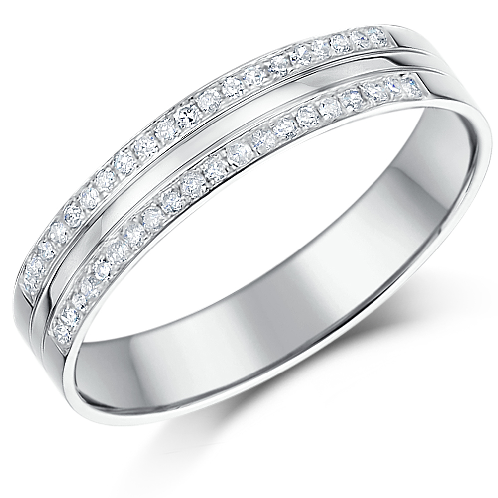 4mm 9ct Two Row Pave Diamond White Gold Ring