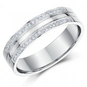 5mm sterling silver 2 Row Pave Diamond Wedding Ring