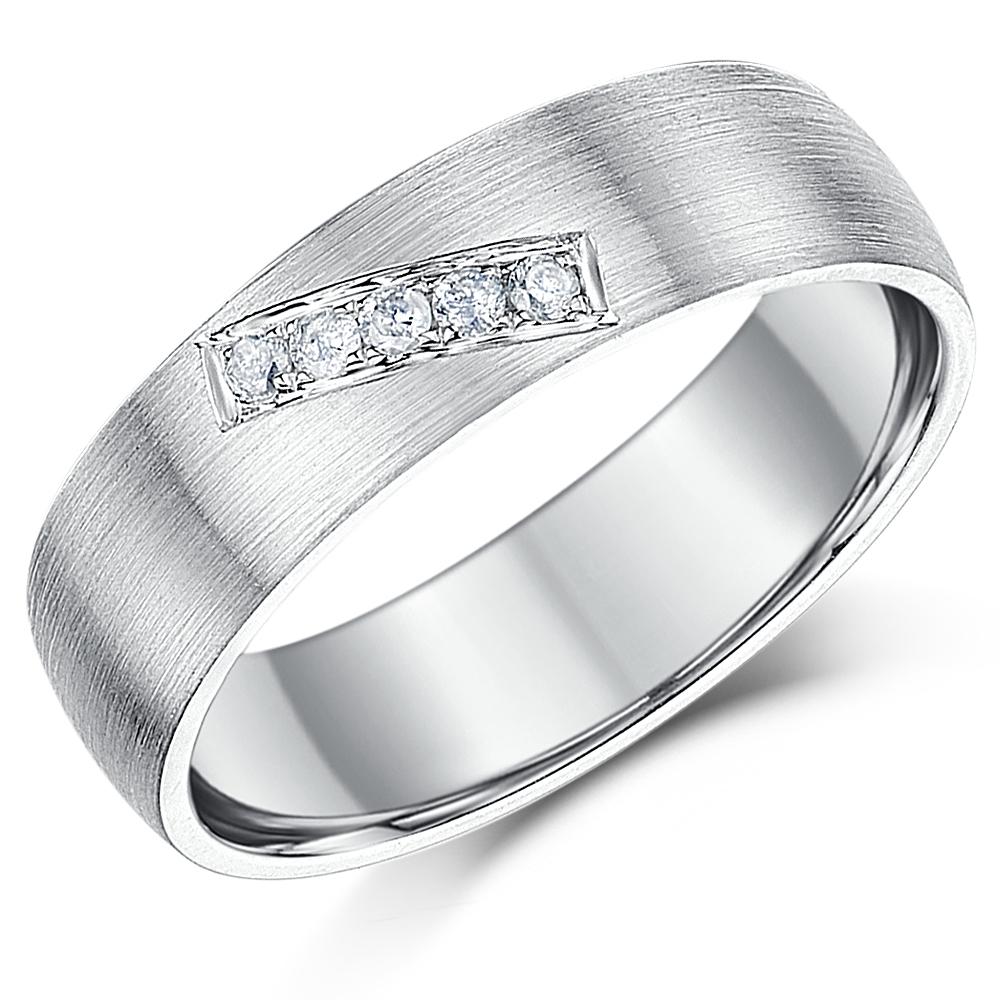 6mm Sterling Silver 925 Matt Finish Diamond Wedding Ring Band