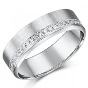 6mm 9ct White Gold Diamond Wedding Ring