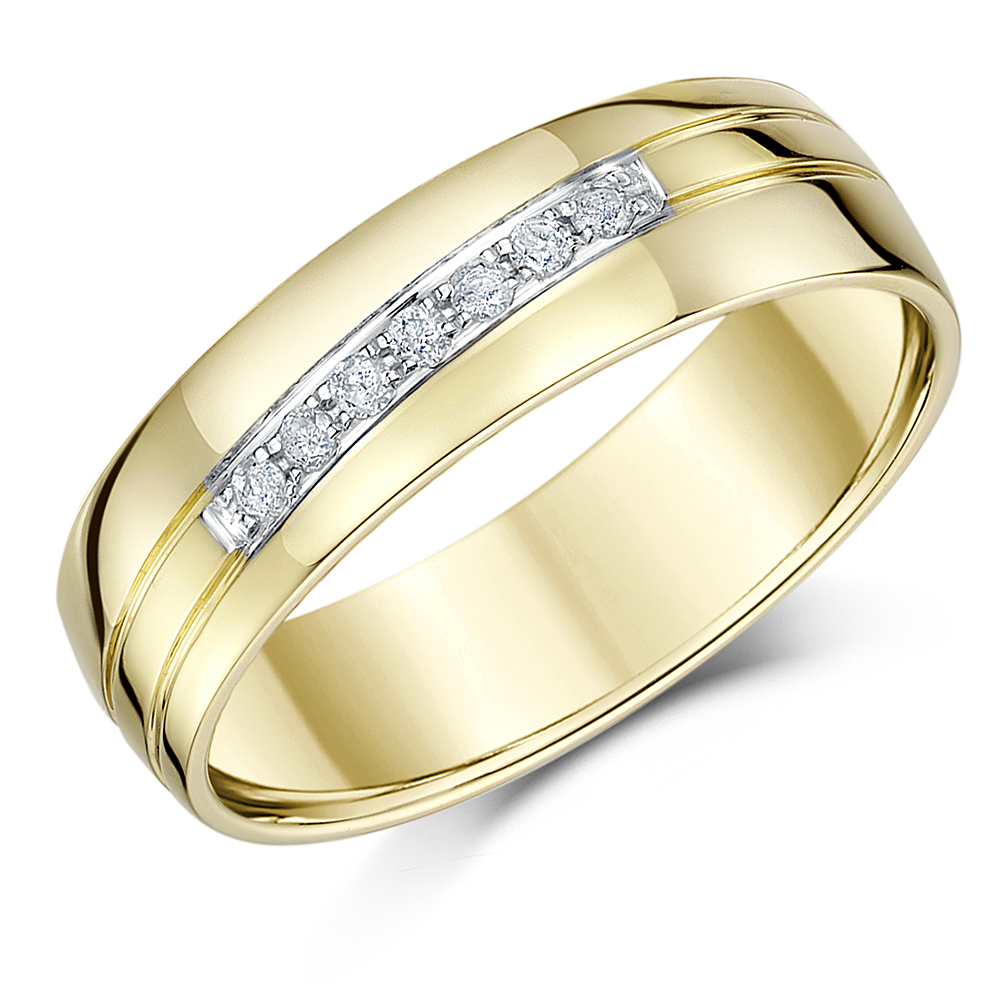 6mm 9ct Yellow Gold Diamond Heavy Wedding Ring Band