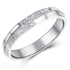 4mm 9 Carat White Gold 12 point Diamond Set Wedding Ring