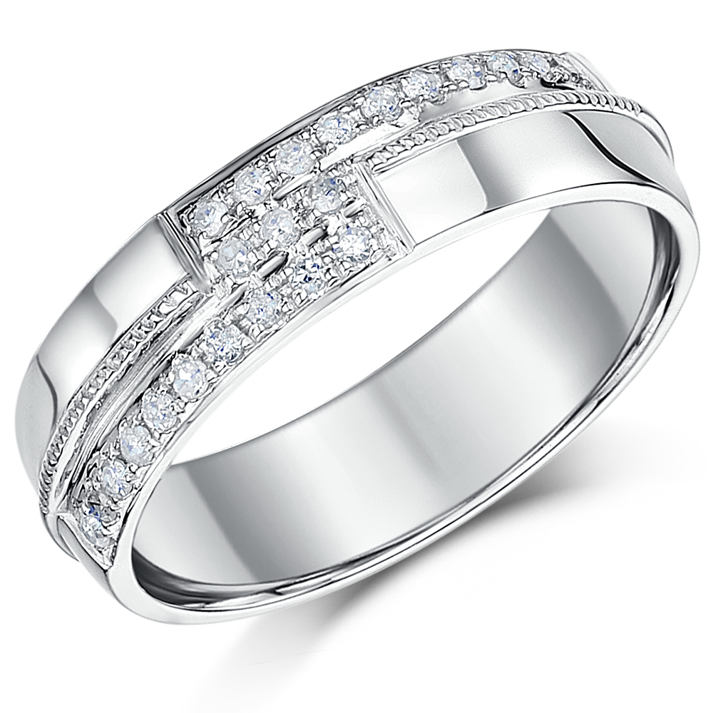 6mm Mens 9 Carat White Gold Diamond Set Wedding Ring Band