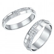 His & Hers 9ct White Gold 4mm and 6mm Diamond Rings