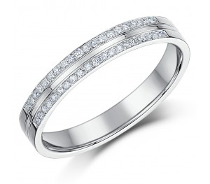 3mm 9ct Double Row Pave Diamond White Gold Ring