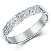 4mm 9 Carat White Gold 28point Diamond Wedding Ring Band