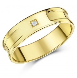 6mm Men\'s 9ct Gold Diamond Set Flat wedding Band