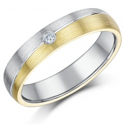 5mm 9ct Gold & Sterling Silver Diamond Grooved Ring