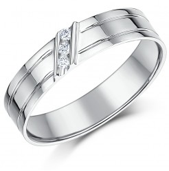 5mm 9ct White Gold Grooved Diamond Set Ring