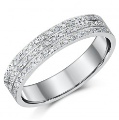 4.5mm 9ct White Gold 3 Row 30 Point Diamond Ring