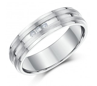 ca39eef9db6bb 6mm Sterling Silver 3x Diamond Grooved Wedding Band - Sterling ...