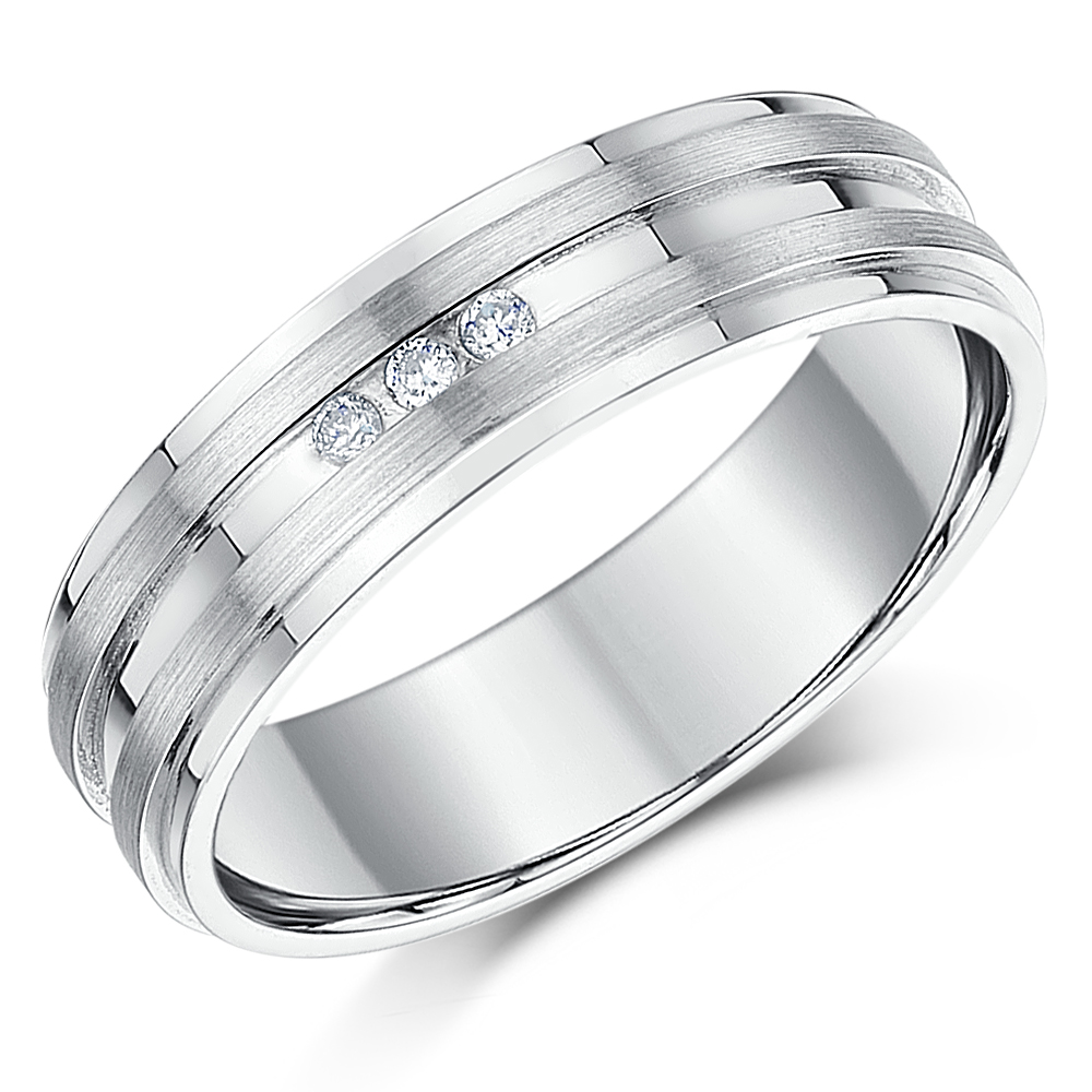 6mm Sterling Silver 3x Diamond Grooved Wedding Band