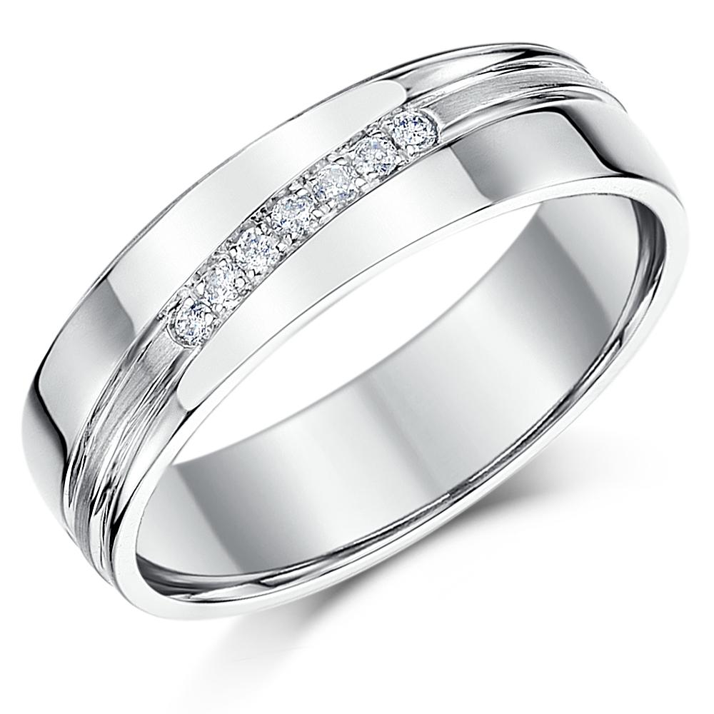 6mm Sterling Silver Channel Set 7x Diamond Wedding Ring