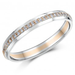 3mm 9ct Rose & White Gold 15 Point Diamond Ring