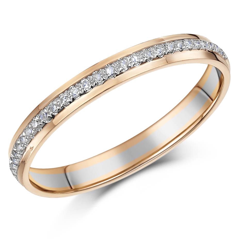3mm 9ct White & Rose Gold 15 Point Diamond Ring