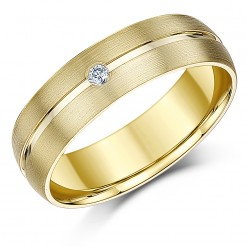 6mm Matt & Polished 9ct Yellow Gold Diamond Ring