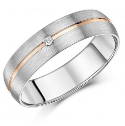 6mm Men\'s 9ct White Gold & Rose Gold Single Diamond Set Band