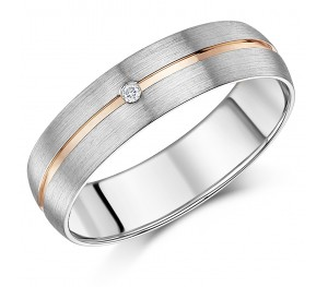 6mm Men's 9ct White Gold & Rose Gold Single Diamond Set Band