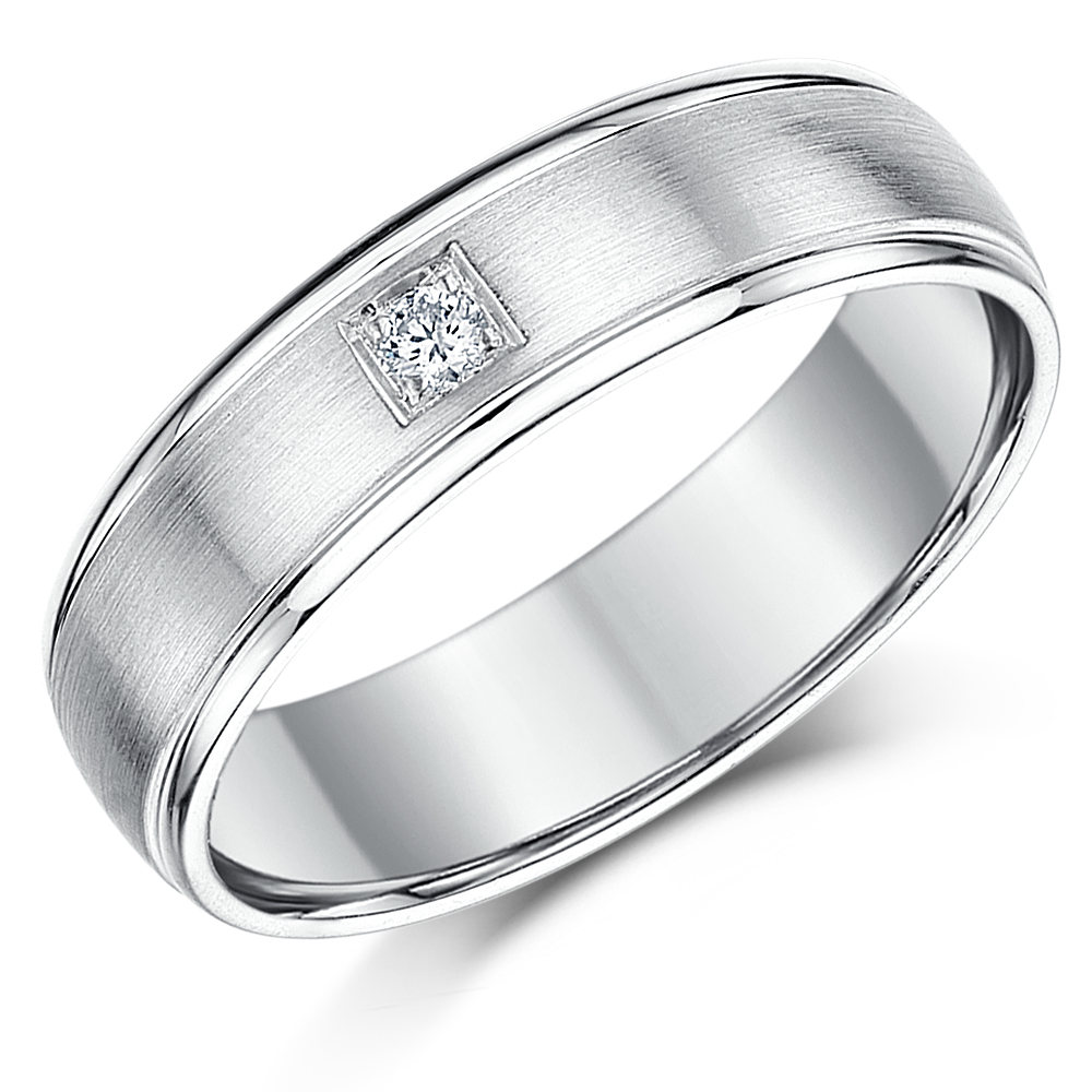 6mm Sterling Silver Diamond Wedding Band