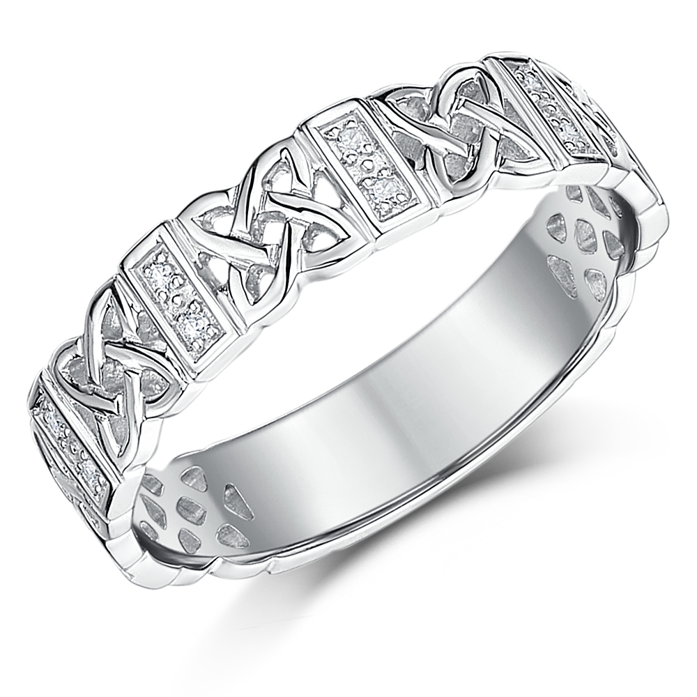 5mm 9 Carat White Gold Diamond Celtic Wedding Ring Band 9ct White