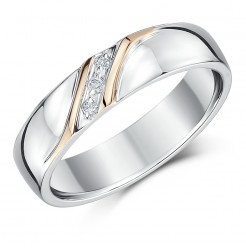 5mm Silver & Rose Gold Accent Diamond Set Wedding Ring