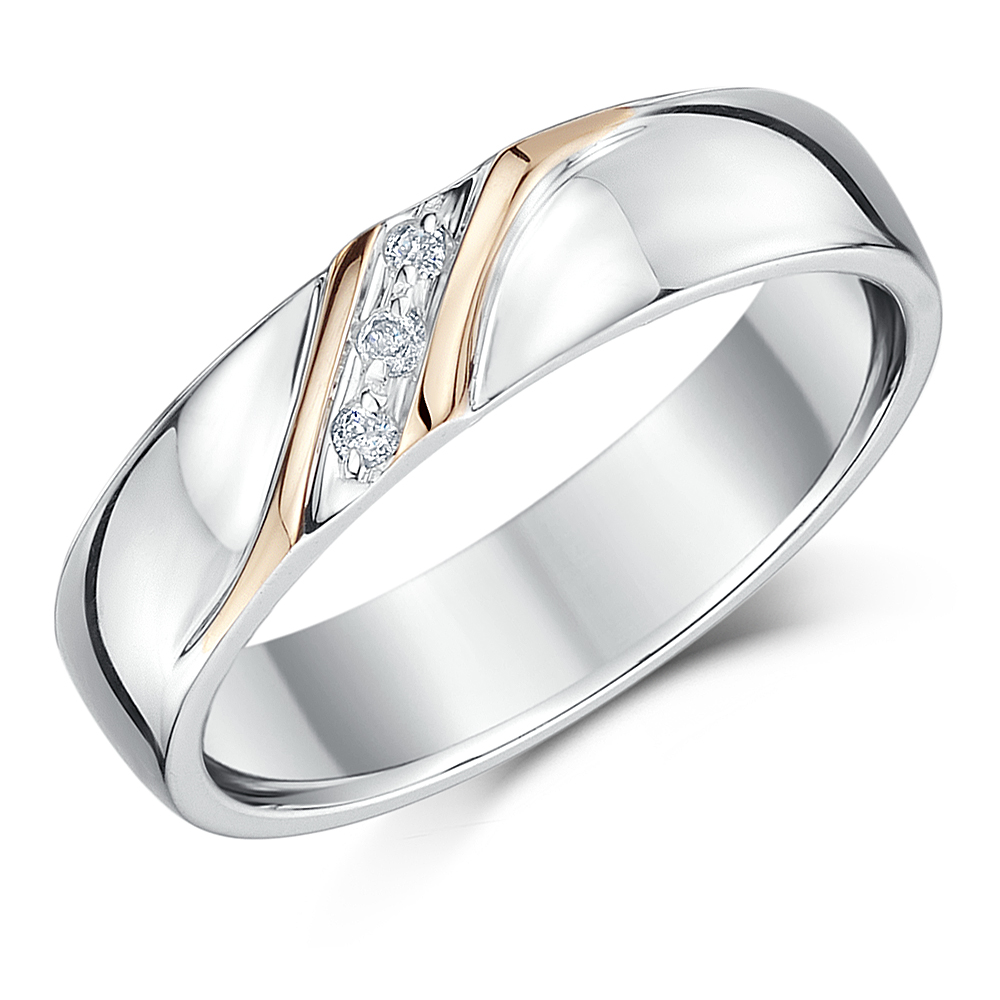 5mm Silver Rose Gold Accent Diamond Set Wedding Ring Two Colour At Elma Uk Jewellery