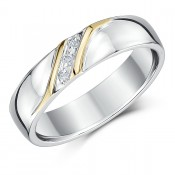 5mm Silver & Yellow Gold Accent Diamond Set Ring