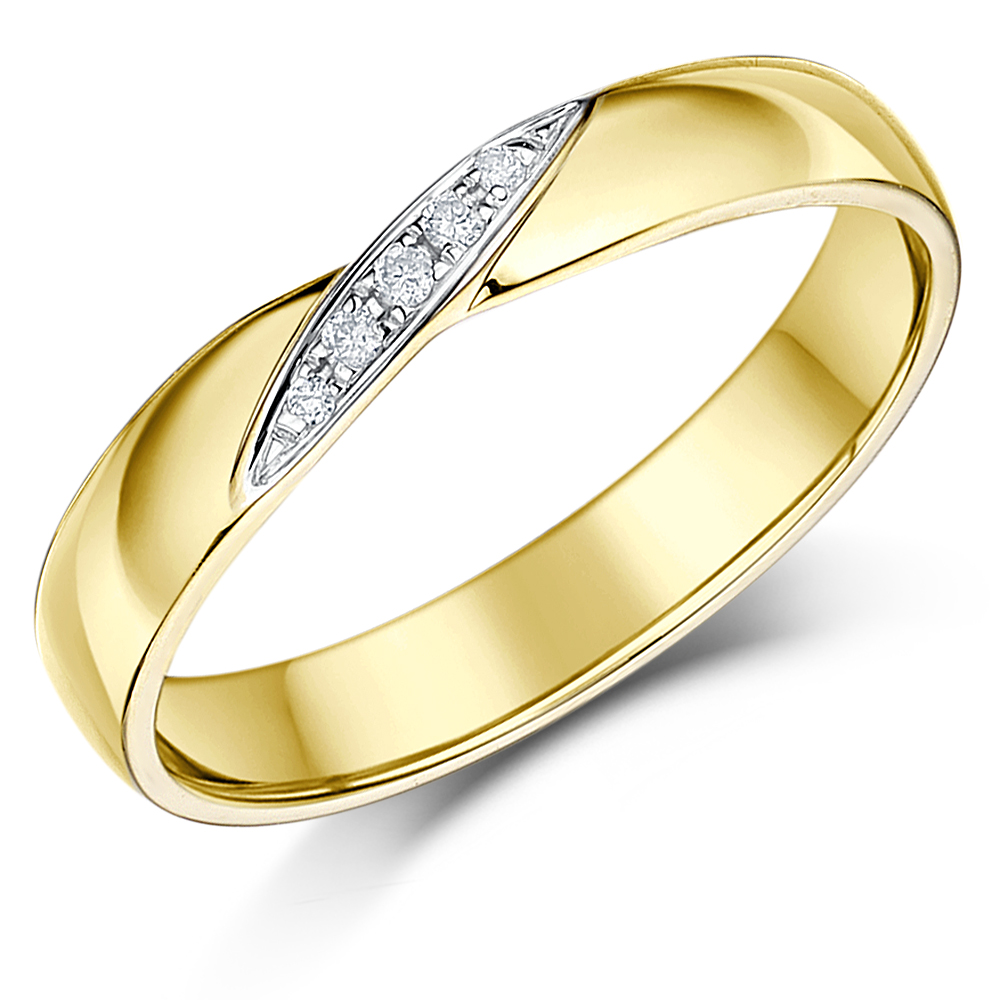 3.5mm 9ct Yellow Gold Crossover Diamond Ring