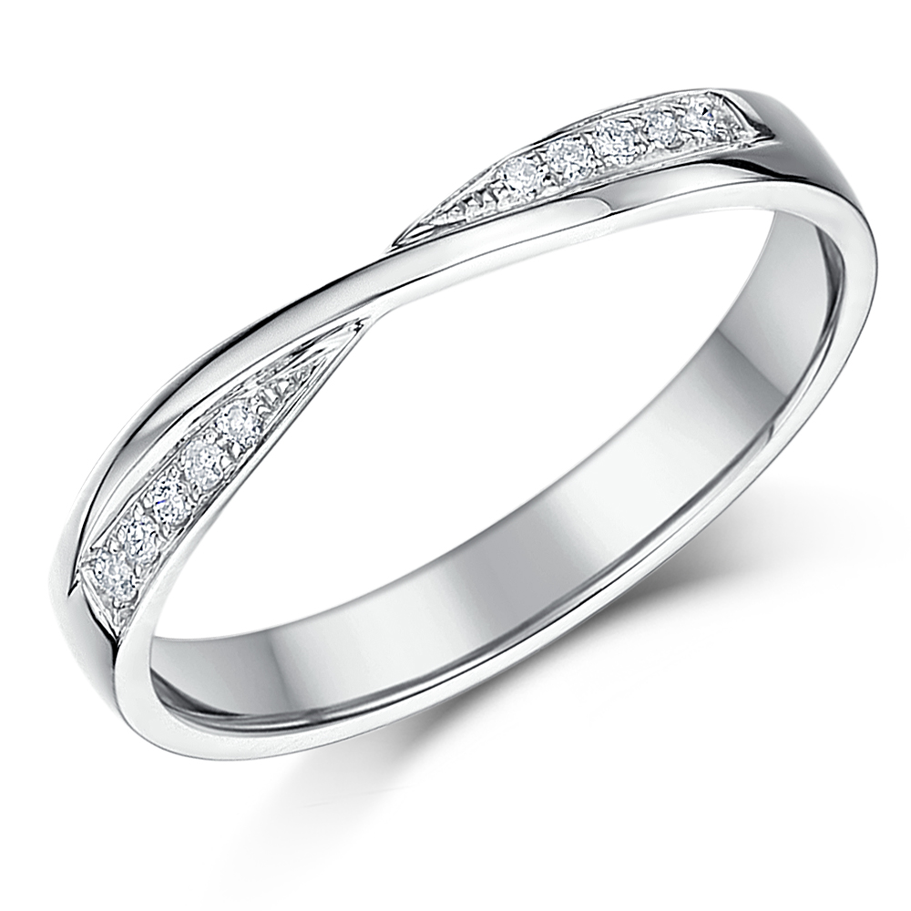 3mm 9ct White Gold Crossover Diamond Wedding Ring