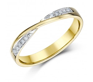 3mm 9ct Yellow Gold Crossover Diamond Wedding Ring