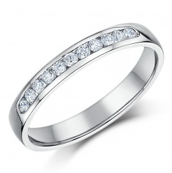 3mm 9ct White Gold Court Shaped Half Eternity Ring
