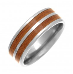 8mm Titanium Wood Look Inlay Design Wedding Ring