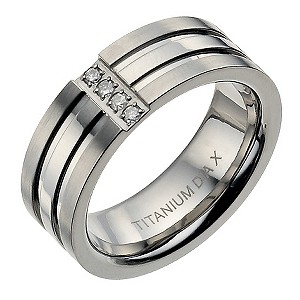 8mm Titanium Three Band Double Grooved Diamond Ring