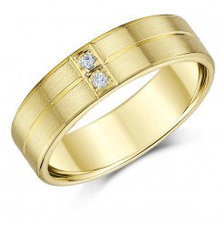 6mm 9ct Yellow Gold Matt Finish Heavy Diamond Wedding Ring