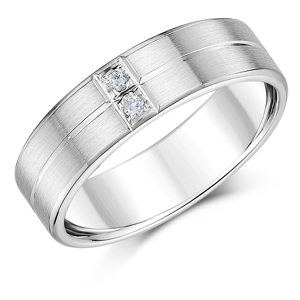 Palladium Diamond Ring 950 Men's 6mm Ring