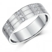 6mm Men\'s Silver Diamond Ring Flat Court Grooved Diamond Band