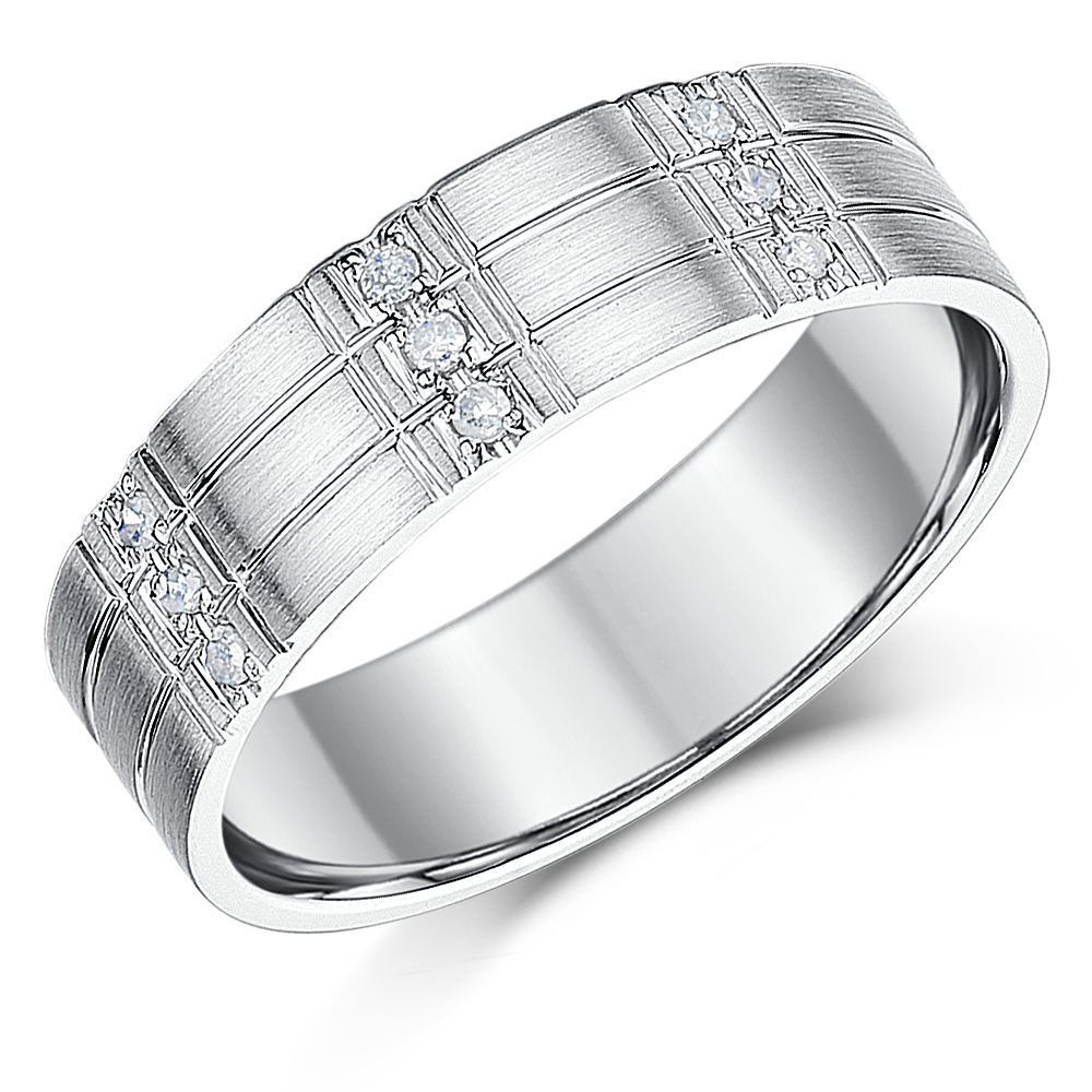 6mm Men's Silver Diamond Ring Flat Court Grooved Diamond Band