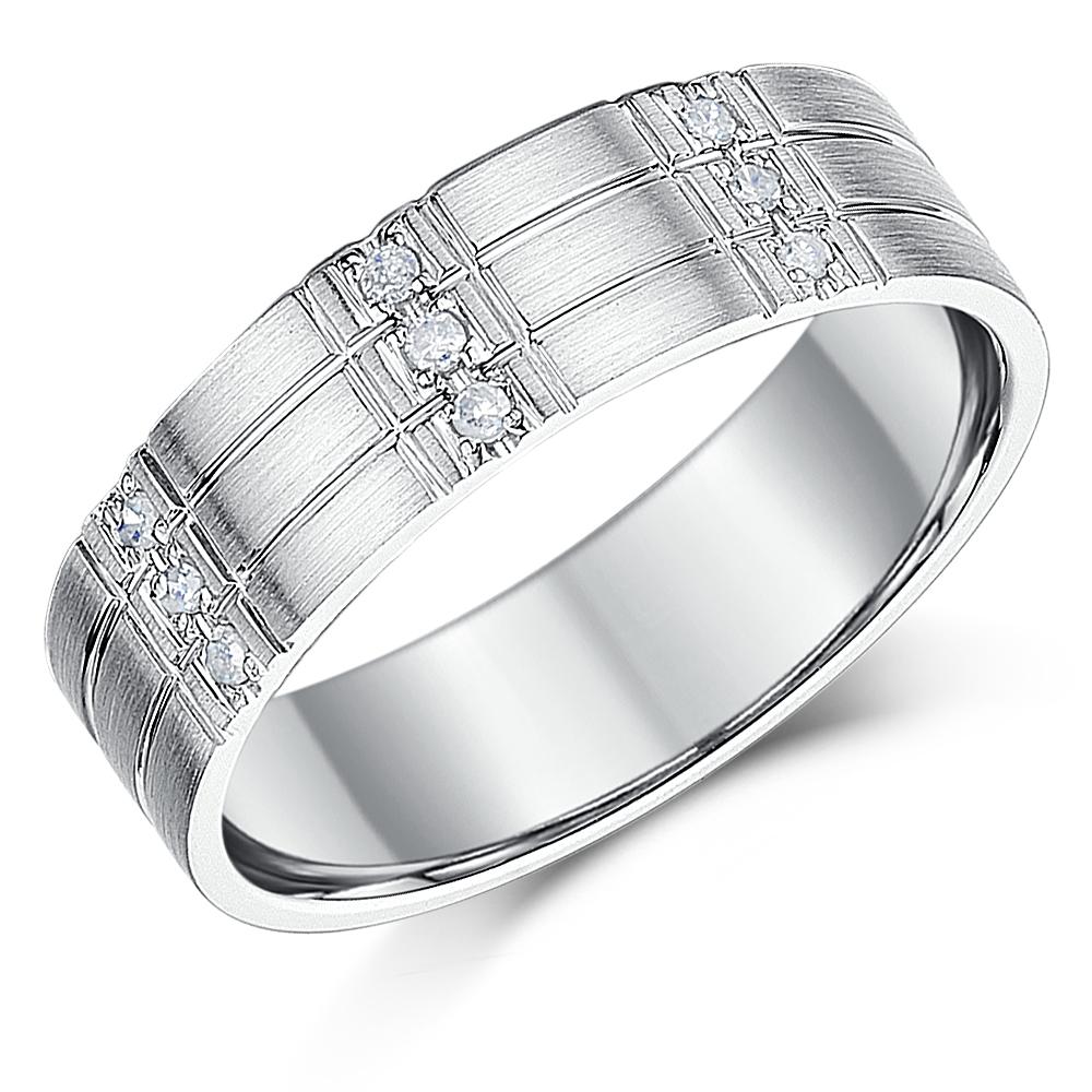 6mm men 39 s silver diamond ring flat court grooved diamond. Black Bedroom Furniture Sets. Home Design Ideas
