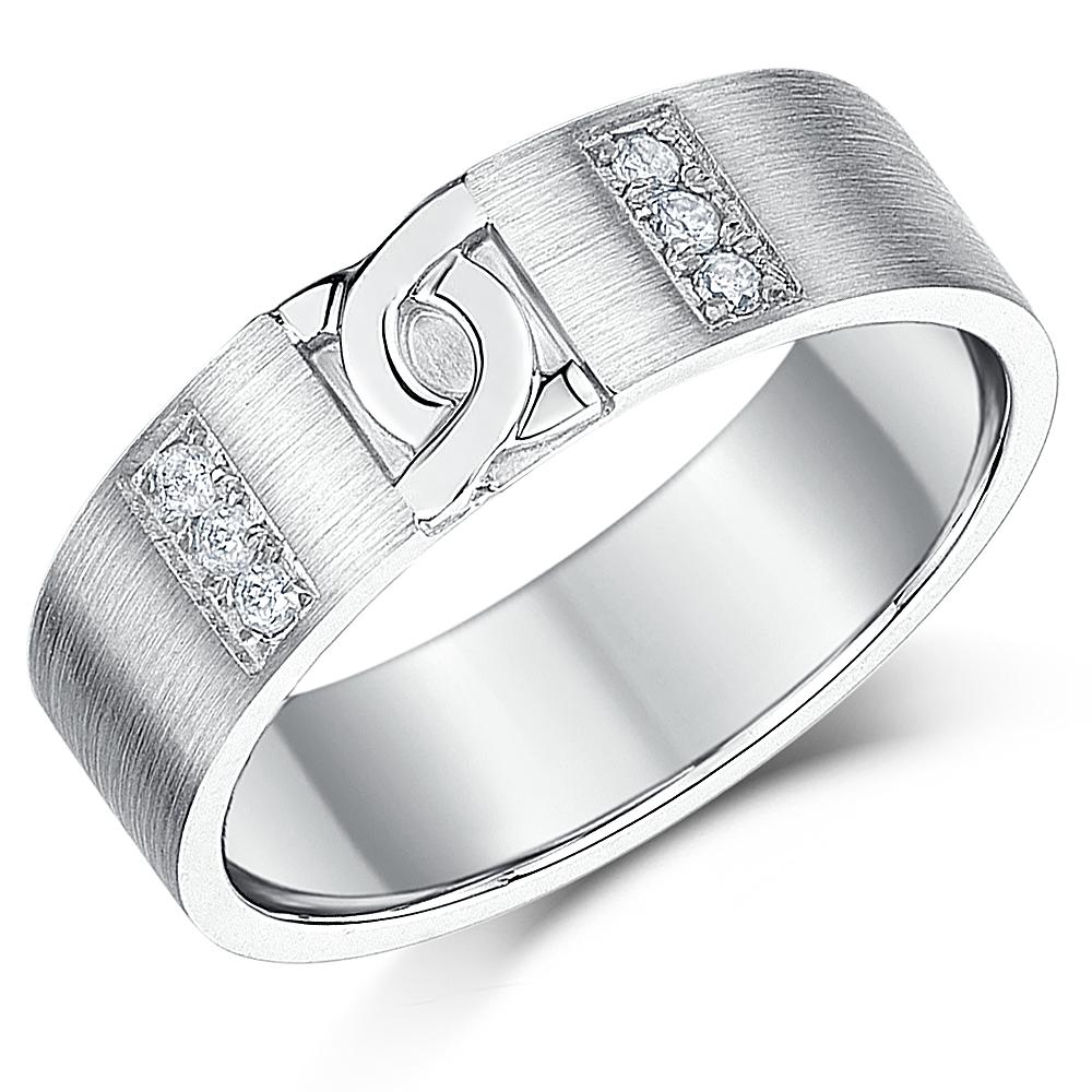 6mm Palladium Diamond Matt Finish 'D' Link Design Wedding