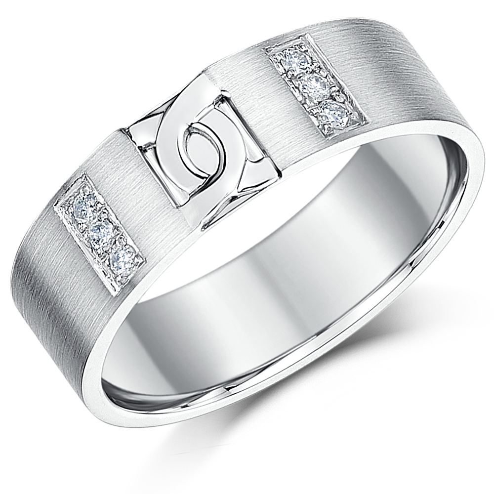 6mm Sterling Silver Diamond D Link Design Wedding Ring Band